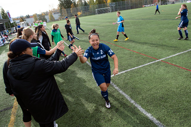 The Capilano Blues women's soccer team cheers before the PACWEST 2018 Soccer Championship at the Burnaby Lake Sports Complex on Oct. 27, 2018. The Blues finished with a silver medal following a 2-0 loss to the VIU Mariners.