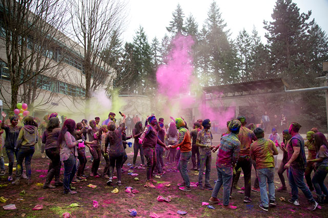 Students celebrate at the Centre for International Education's World of Colour, inspired by the Holi Festival, on March 13, 2018.