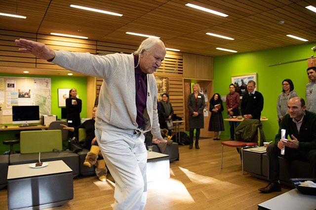Elder-in-residence Ernie George dances during his birthday celebration in the Kéxwusm-áyakn Student Centre on Feb. 5.