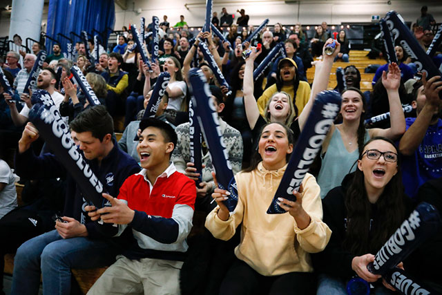 Fans cheer on the Capilano Blues women's basketball team in their silver medal performance at the PacWest Basketball Championships at Douglas College on March 2, 2019. The Blues lost 82-77 to the VIU Mariners.