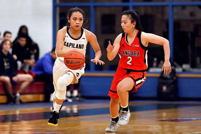 Kirsten Abo dribbles up court in the Capilano Blues'; 59-46 win over the Langara College Falcons on Nov. 8, 2019. (Photo by Taehoon Kim)