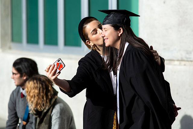 Celebrating with loved ones before Convocation ceremonies on Feb. 21, 2020. (Photo by Tae Hoon Kim)