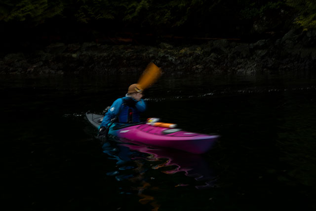 Practicing kayak skills in Deep Cove during an outdoor recreation outing on Feb. 12, 2020. (Photo by Taehoon Kim)