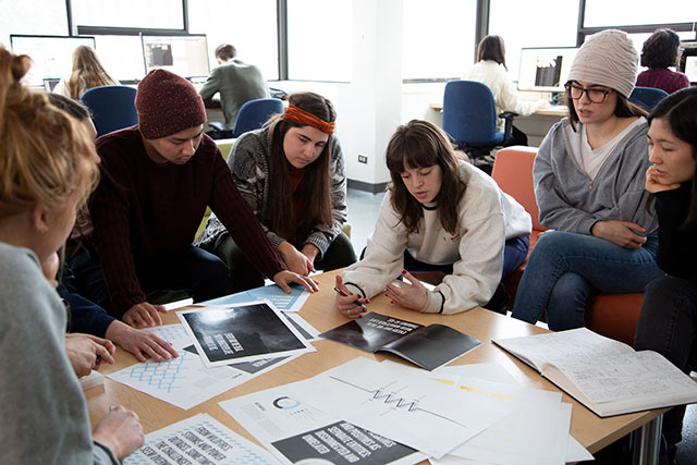 IDEA School of Design students review work on Feb. 4, 2020. (Photo by Tae Hoon Kim)