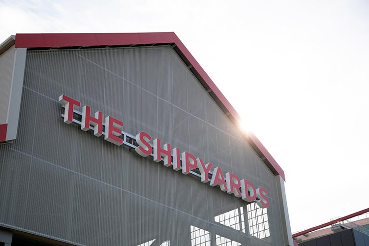 The Shipyards sign in lower Lonsdale.